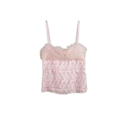 limited edition lace applique top pink